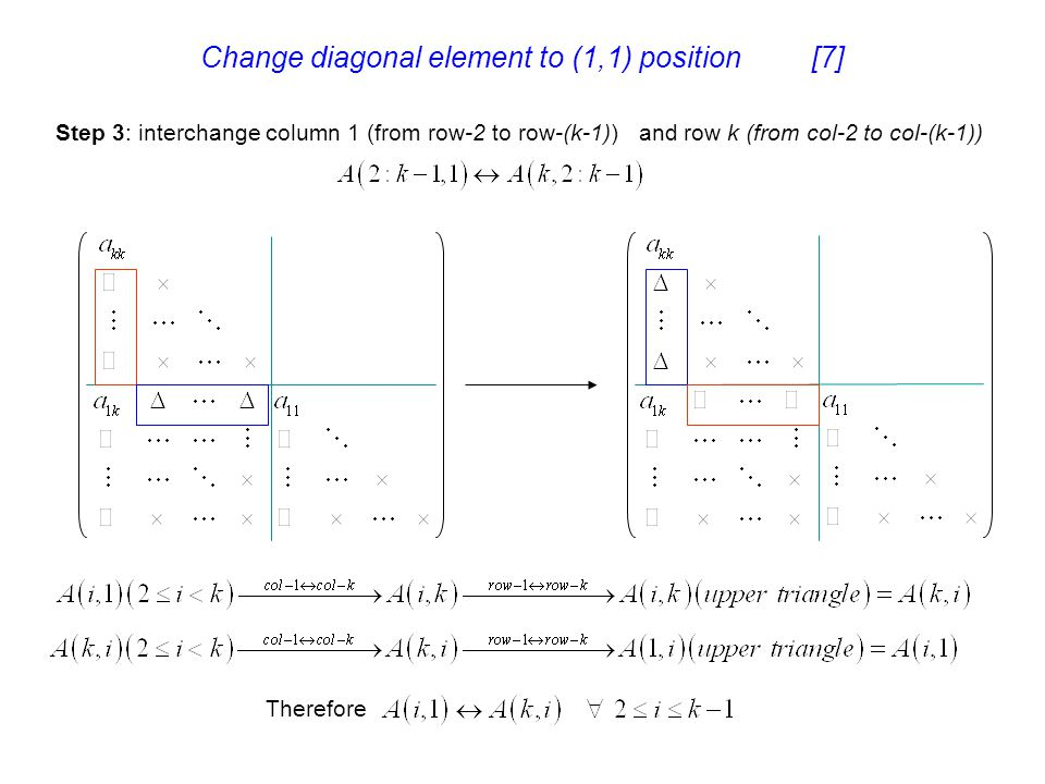 Change diagonal element to (1,1) position [7]